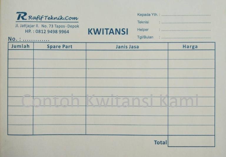 Kwitansi Service Ac Pompa Air
